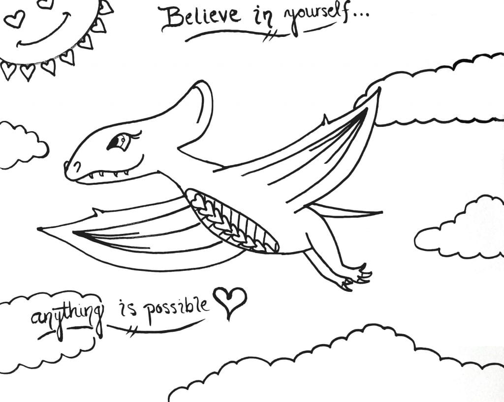 Dinosaur Coloring Page - Believe In Yourself