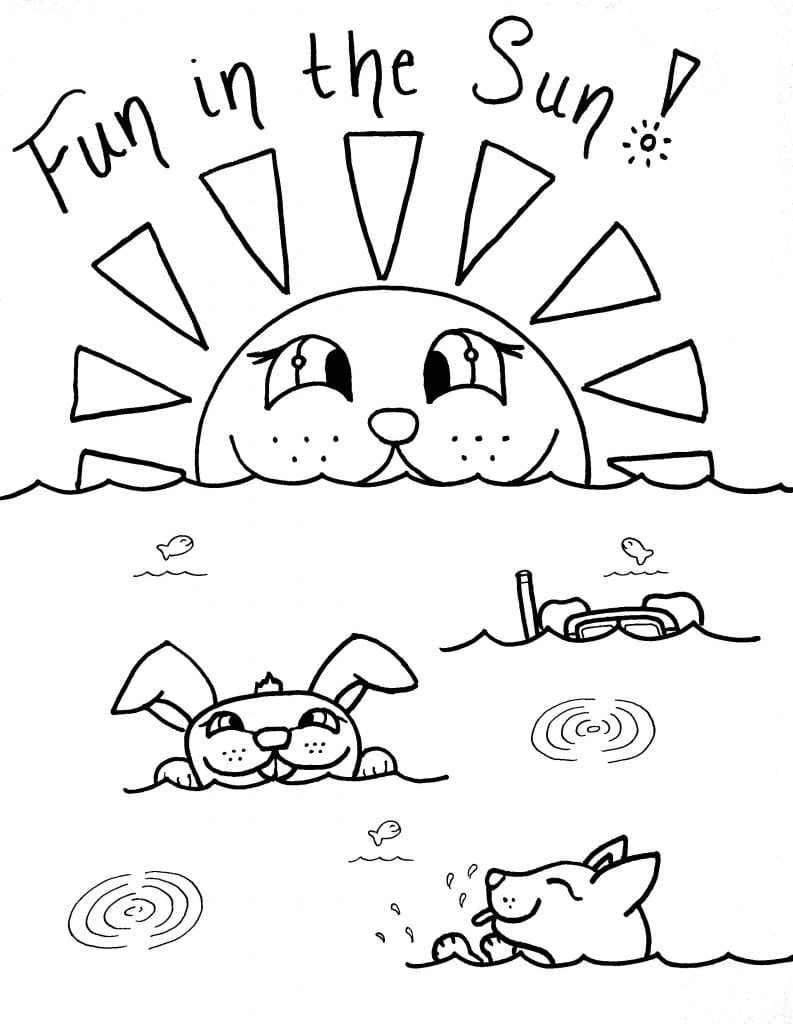 Puppy Coloring Page - Fun In The Sun