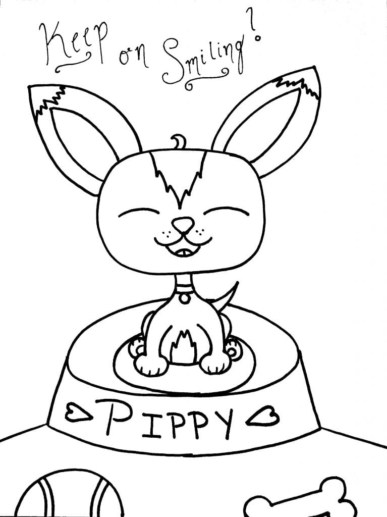 Puppy Coloring Page - Keep On Smiling