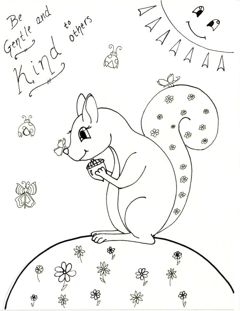 Spring Coloring Page -Be Gentle & Kind