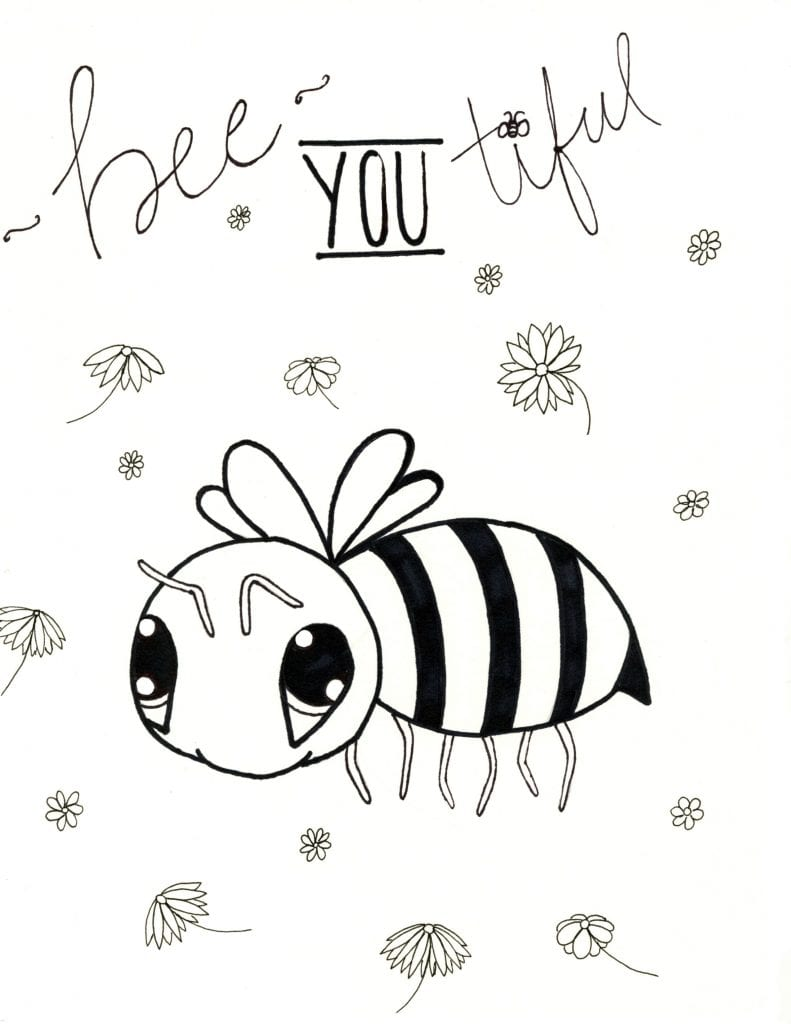 Spring Coloring Page - Bee You