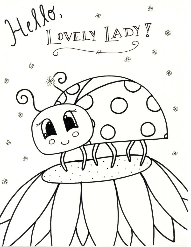 Spring Coloring Page - Hello Lovely Lady