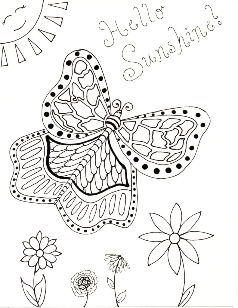 Spring Coloring Page - Hello Sunshine