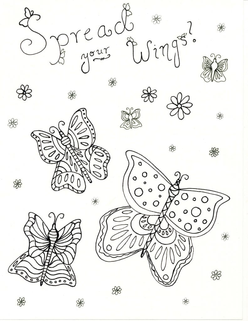 Spring Coloring Page -Spread Your Wings
