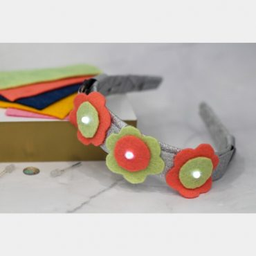Light up headband with materials used to create it