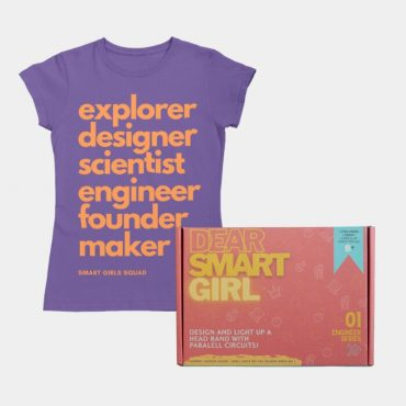 Electrical Engineer STEM kit and flat lay of a purple Smart Girl Squad tshirt for kids.