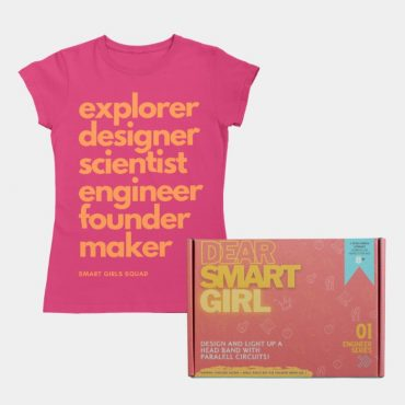 Electrical Engineer STEM kit and flat lay of a pink Smart Girl Squad tshirt for kids.
